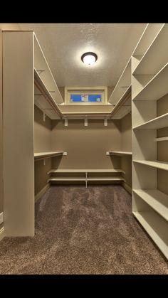 Small walk in closet ideas and organizer design to inspire you. diy walk in closet ideas, walk in closet dimensions, closet organization ideas. Organizing Walk In Closet, Walk In Closet Small, Small Closets, Closet Storage, Storage Room, Narrow Closet, Storage Ideas, Storage Solutions, Master Closet Design