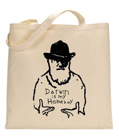 Science Shoulder Bag for Biology Majors by FragglesAndFriggles   This shoulder bag features a screenprinted image of Darwin, the father of evolution. Perfect for a science student's books or snacks!
