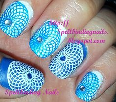 Spellbinding Nails: Big SdP G + ' A Blue and White Spirograph '