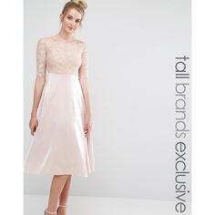 True Decadence Tall Lace Bardot Midi Prom Dress ($62) ❤ liked on Polyvore featuring dresses, beige, zipper dress, midi prom dress, tall cocktail dresses, beige dress and beige lace dress