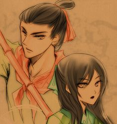 Shang and Mulan, anime style. Works well for them.