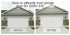 Garage Door Makeover. Home Depot sells Decorate Garage Door Hardware Kits and you can make your garage doors look like they are carriage style garage doors.