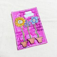 #atc #artisttradingcard #mixedmedia #bicycle #mixedmediaart #watercolors #springflowers #spring