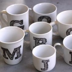 diy monogram mugs- super easy and you can stuff them with hot cocoa goodness for a gift