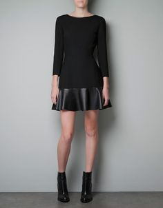 I love the leather/faux leather accents this season!  DRESS WITH FAUX LEATHER FRILL - Dresses - Woman - ZARA