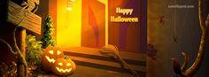 Happy Halloween Door Step Spiders Pumpkins  Facebook Cover CoverLayout.com