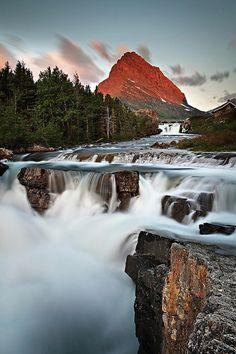 waterfall sunrise by Oilfighter, via Flickr; Glacier National Park, Montana