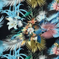 A fantastic imagining of flora, fauna, print and palm, treated in the quintessential Christian Lacroix style with extraordinary detail. This fabric is digi Wallpaper Wall, Scenic Wallpaper, Fabric Wallpaper, Summer Wallpaper, Christian Lacroix, Floating Flowers, Design Department, Painting Studio, Designers Guild