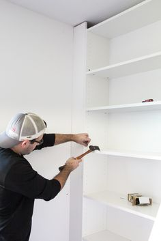 A step-by-step tutorial for how to make professional looking DIY built-ins using IKEA Billy bookcases for vertical storage. Ikea Storage, Storage Hacks, Wall Storage, Bedroom Storage, Laundry Storage, Ikea Billy Bookcase, Bookshelves Built In, Built Ins, Room Furniture Design