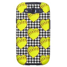 Softball Love Pattern On Houndstooth