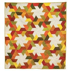 """This pattern is included FREE on the packaging of the die GO! Half Hexagon-4 1/2"""" Sides (4 1/4"""" Finished) (55437) Just when you thought you've tried every star in quilting, the GO! Twirling Star Quilt is a unique twist on the star. Half hexagons make this sawtooth pattern easy. #accuquilt"""