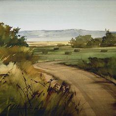 Through the Fields :: Joseph Alleman Watercolor ~ 11 x 11