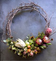 Discover recipes, home ideas, style inspiration and other ideas to try. Aussie Christmas, Australian Christmas, Christmas Crafts, Dried Flower Wreaths, Dried Flowers, Xmas Decorations, Wedding Decorations, Protea Flower, Xmas Wreaths