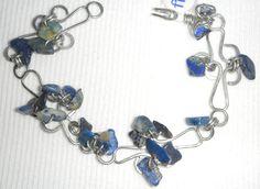 Handmade Wire Bracelet with Lapis stones