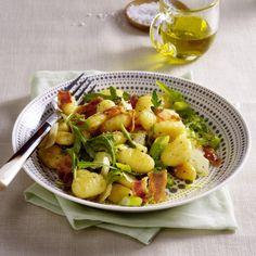 Gnocchi Salat, Potato Salad, Pork, Potatoes, Ethnic Recipes, Sweet, Dips, Camping, Lettuce Recipes