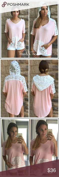 "Lace Hoodie Top Pastel pink and white be neck hoodie top. Featuring lace detail kangaroo pocket, sleeve detail and hood. Dolan sleeves and made of poly spandex blend. Size S/M, M/L, L/XL.                  S/M  Bust 58"" Length: front 26/ back 31""  M/L bust 62"" Length: front 26""/back 33""  L/XL bust 66"" Length: front 28"" / back 34"" Threads & Trends Tops Sweatshirts & Hoodies"