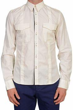 053dc98931 GILLES ROSIER Made In Italy Broken White Cotton Casual Shirt EU 40 US 15.75  Broken White