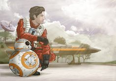Poe Dameron and BB-8 on D'Qar by Sketchy-raptor.deviantart.com on @DeviantArt