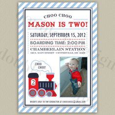 COLOR OPTIONS Train Birthday Invitations  by doubleudesign on Etsy, $18.00