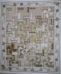 Falling Leaves Quilt Pattern - Try a neutrals quilt. This unique pattern celebrates the richness of monochromatic colors. It is made from assorted scraps, in a neutral palette. Monochromatic Quilt, Neutral Quilt, Patchwork Quilt Patterns, Scrappy Quilts, Gray Quilts, Fall Quilts, Sampler Quilts, Quilting Patterns, Low Volume Quilt