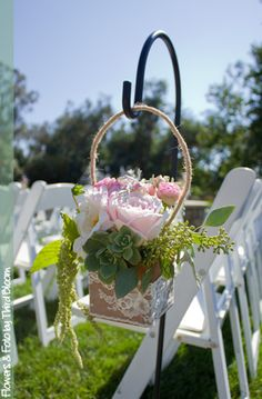 Wedding ceremony aisle shepherd hooks with wooden boxes and lace