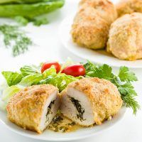 This easy baked chicken kiev recipe has a low carb & paleo breaded outside & melt-in-your-mouth inside. Healthy, natural, gluten-free & whole 30.