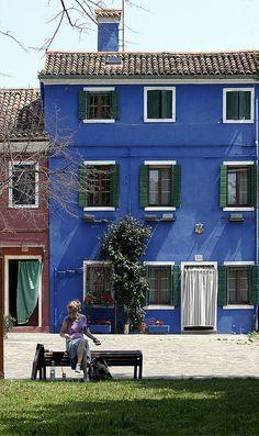 blue house.. Burano Island, Venice, Italy