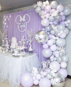 How beautiful is the setup you alway amaze me with your work 😍😍😍 balloons done by me Event Styled by… Lavender Baby Showers, Baby Shower Purple, Baby Girl Shower Themes, Girl Baby Shower Decorations, Baby Shower Winter, Baby Birthday, 1st Birthday Parties, Birthday Party Decorations, Party Themes