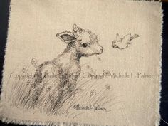 Log in to your Etsy account. Painting Patterns, Fabric Painting, Fabric Art, Pen And Watercolor, Watercolor Animals, Babydoll Sheep, Sheep Art, Easter Art, Baby Art