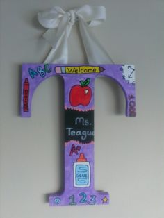 Teacher theme door hanger by A & S Designs - hand painted - custom made to order - available at www.facebook.com/aandsdesignsforyou