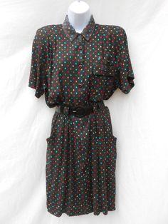 Vintage 1980s black multi colour polka dot summer mini dress with shoulder pads