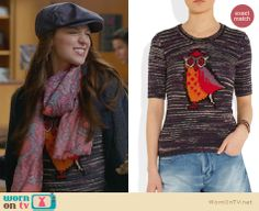 Marley's owl sweater and paisley scarf on Glee. Outfit Details: http://wornontv.net/23833 #Glee