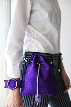 Small Violet Pouch | Gift for her |Designer Pouch | Suede Handbag | Fanny Pack | Transformer Bag | Cross body Bag| Travel Pouch | Waist Bag