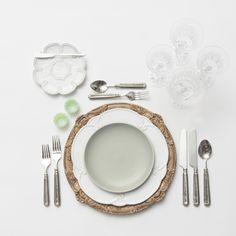 Walnut Verona Charger + White Signature Collection Dinnerware + Heath Ceramics in Mist + Tuscany Flatware in Pewter + Crystal Jadeite Salt Cellars + Vintage Clear Cut Crystal Goblets   Casa de Perrin Design Presentation