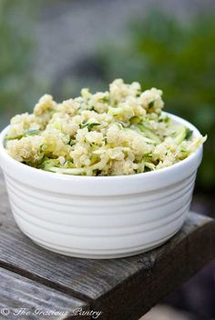 Clean Eating Green Quinoa  (Makes 7 servings)  4 cups cooked quinoa, cooked to package directions  4 cups grated, raw zucchini  1/2 cup prepared or homemade basil pesto  1/4 cup grated parmesan cheese  Directions  Step 1 – In a large mixing bowl, stir all ingredients together until well combined and serve.
