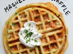 Mashed Potato Waffle is a great use for your leftover mashed potatoes. You can combine some cheese and chives in with the potatoes, then once the waffle is done top with Greek yogurt and chives. Sweet Potato Waffles, Pancakes And Waffles, Savory Waffles, Mashed Potato Waffle Recipe, Potato Pancakes, Brunch Recipes, Breakfast Recipes, Fun Recipes, Pancake Recipes