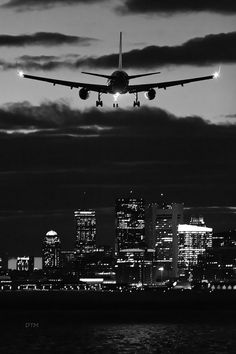 black and white: airplane landing