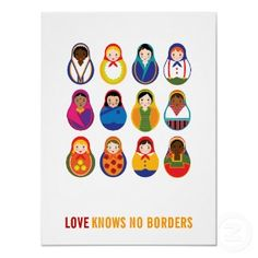 Multicultural Nesting Dolls Love Knows No Borders print