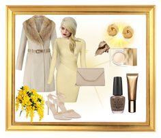 """""""Yellow, Beige and Gold"""" by klm62 ❤ liked on Polyvore featuring Miss Selfridge, New Look, Tiffany & Co., Valextra, Burberry, Bobbi Brown Cosmetics, Clarins and OPI"""