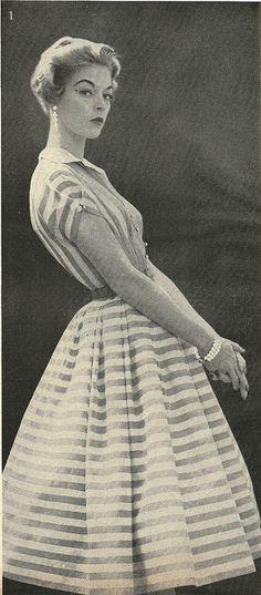 1954 Full Skirted Stripe Dress