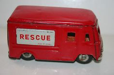 """Vintage 1950's Tin Friction Operated """"Rescue"""" Van or Truck"""