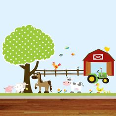 Vinyl Wall Decals Farm Set Tree with Barn,tractor,fence,horse,cow,pig,lamb,ducks,nursery playroom wall sticker mural. $175.00, via Etsy.