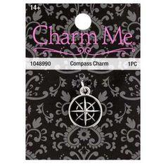 Rhodium Compass Charm