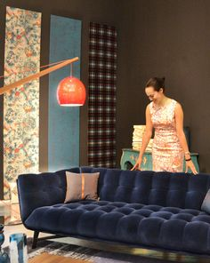 Fabulous Furniture and Accessories. Roche Bobois's blue velvet PROFILE sofa / chesterfield.
