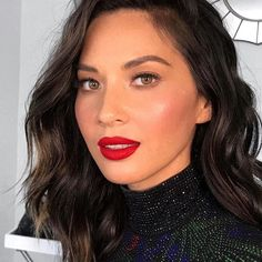 Fight Night Glam @oliviamunn Loving My Lipstick From @toofaced Contour Using @kkwbeauty Powder Kit Hair By @chadwoodhair Makeup By @patrickta Styled By @highheelprncess Nails By @nailsbyemikudo