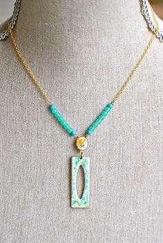 Elizabeth. aqua blue enamel pendant,beaded floral necklace.Tiedupmemories
