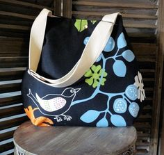 GOTHENBURG Robin  Black Bird With an Adjustable Strap by ikabags, $49.00