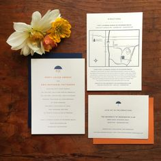 Geek chic techy robot letterpress wedding invitation its amore navy and orange seattle umbrella monogram wedding invitation its amore design letterpress stopboris Gallery