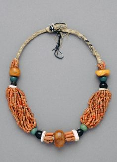 Morocco | Necklace; coral, amber, amazonite and other stones | African Museum (Belgium) Collection; acquired 1992