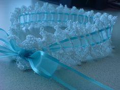 """""""Something Blue"""" Crocheted Bridal Garter"""